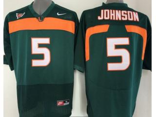 Miami Hurricanes 5 Andre Johnson College Football Jersey Green