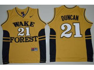Wake Forest Demon Deacons 21 Tim Duncan College Basketball Jersey Gold