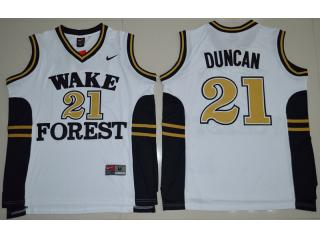 Wake Forest Demon Deacons 21 Tim Duncan College Basketball Jersey White