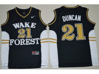 Wake Forest Demon Deacons 21 Tim Duncan College Basketball Jersey Black