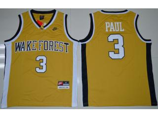 Wake Forest Demon Deacons 3 Chris Paul College Basketball Jersey Gold