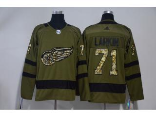Adidas Classic Detroit Red Wings 71 Philip Larkin Hockey Jersey Army Green