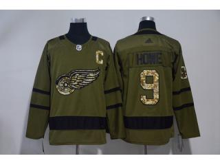 Adidas Classic Detroit Red Wings 9 Gordie Howe Hockey Jersey Army Green