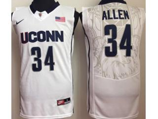 Uconn Huskies 34 Ray Allen College Basketball Jersey White