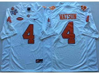 Clemson Tigers 4 DeShaun Watson College Football Jersey White