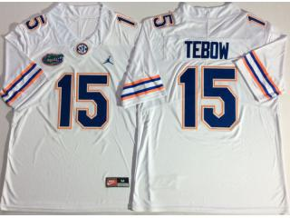 Jordan Florida Gators 15 Tim Tebow College Football Jersey White