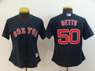 Women Boston Red Sox 50 Mookie Betts Baseball Jersey Navy Blue
