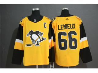 Adidas Classic Pittsburgh Penguins 66 Mario Lemieux Ice Hockey Jersey Yellow