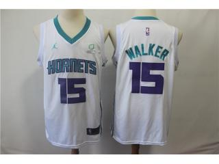 Nike New Orleans Hornets 15 Kemba Walker Basketball Jersey White Fans Edition