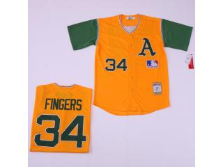 Oakland Athletics 34 Rollie Fingers Baseball Jersey Yellow Retro