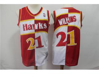 Atlanta Hawks 21 Dominique Wilkins Basketball Jersey Red and white color retro Edition