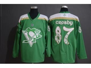 Adidas Classic Pittsburgh Penguins 87 Sidney Crosby Ice Hockey Jersey Green