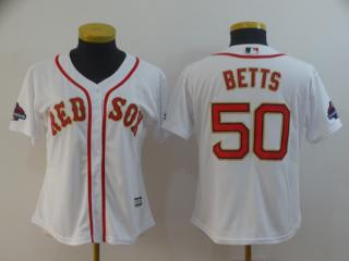 Women Boston Red Sox 50 Mookie Betts Baseball Jersey White