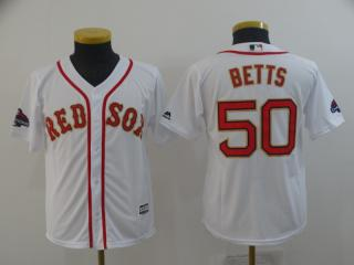 Youth Boston Red Sox 50 Mookie Betts Baseball Jersey White