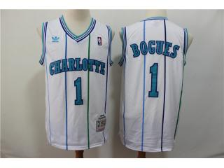 New Orleans Hornets 1 Muggsy Bogues Basketball Jersey White Retro