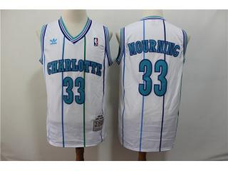 New Orleans Hornets 33 Alonzo Mourning Basketball Jersey White Retro