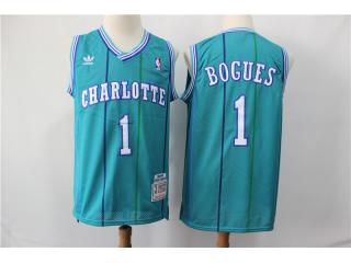 New Orleans Hornets 1 Muggsy Bogues Basketball Jersey Blue Retro