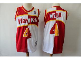 Atlanta Hawks 4 Spud Webb Basketball Jersey Red and white color retro Edition