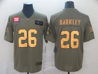 New York Giants 26 Saquon Barkley Olive Salute To Service Limited Jersey Gold Word