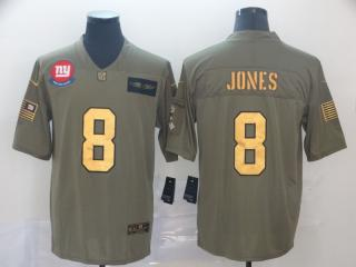 New York Giants 8 Daniel Jones Olive Salute To Service Limited Jersey Gold Word