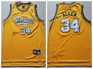 Seattle Super Sonics 34 Ray Allen Basketball Jersey Yellow Retro