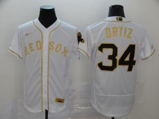 Nike Boston Red Sox 34 David Ortiz Flexbase Baseball Jersey White Retro gold character
