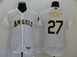 Nike Los Angeles Angeles 27 Mike Trout Flexbase Baseball Jersey White Retro gold character