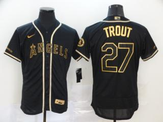 Nike Los Angeles Angeles 27 Mike Trout Flexbase Baseball Jersey Black Retro gold character