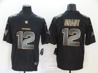 Tampa Bay Buccaneers 12 Tom Brady Football Jersey Legendary Black gold