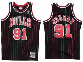 Chicago Bulls 91 Dennis Rodman Basketball Jersey Black Retro