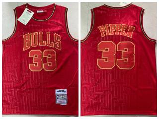Chicago Bulls 33 Scottie Pippen Basketball Jersey Red Retro