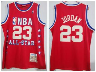 89 all star Chicago Bulls 23 Michael Jordan Basketball Jersey Red Retro