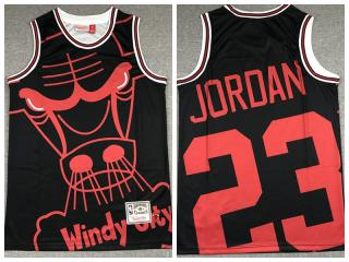 Chicago Bulls 23 Michael Jordan Basketball Jersey Black M & N bigface printing