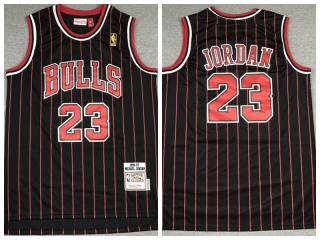 Chicago Bulls 23 Michael Jordan Basketball Jersey Black Retro Gold standard