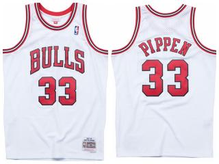 Chicago Bulls 33 Scottie Pippen Basketball Jersey White Retro