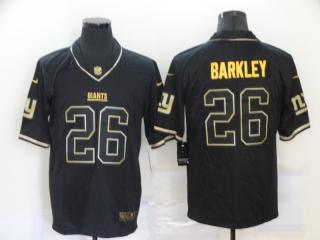 New York Giants 26 Saquon Barkley Football Jersey Legend Black Retro gold character