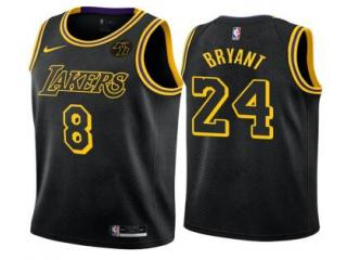 Nike Los Angeles Lakers 8 and 24 Kobe Bryant Basketball Jersey Black city edition with KB mark