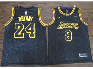 Nike Los Angeles Lakers 8 and 24 Kobe Bryant Black Mamba commemorative limited edition Special Editi...