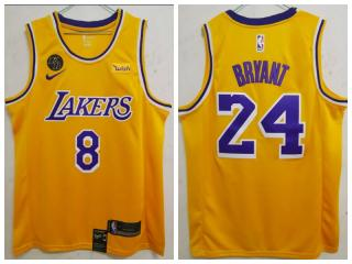 Nike Los Angeles Lakers 8 and 24 Kobe Bryant Basketball Jersey Yellow city edition with KB mark