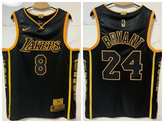 Nike Los Angeles Lakers 24 Kobe Bryant Basketball Jersey Black Collection Edition