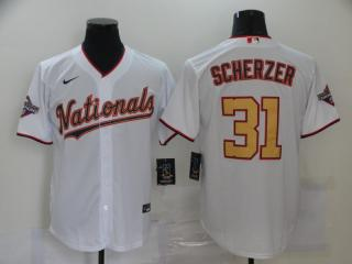 Nike Washington Nationals 31 Max Scherzer Baseball Jersey White Gold lettered fans