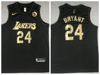 Nike Los Angeles Lakers 24 Kobe Bryant Basketball Jersey Black Commemorative Edition