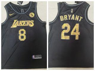 Nike Los Angeles Lakers 8 and 24 Kobe Bryant Basketball Jersey Black Commemorative Edition