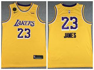 Nike Los Angeles Lakers 23 LeBron James Basketball Jersey Yellow