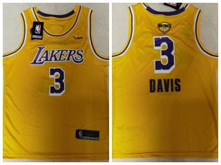 Nike Los Angeles Lakers 3 Anthony Davis Basketball Jersey Yellow 2020 final
