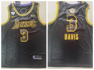 Nike Los Angeles Lakers 3 Anthony Davis Basketball Jersey Black 2020 final