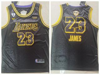 Nike Los Angeles Lakers 23 LeBron James Basketball Jersey Black 2020 final