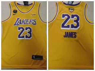 Nike Los Angeles Lakers 23 LeBron James Basketball Jersey Yellow 2020 final