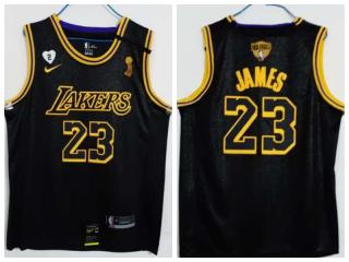 Nike Los Angeles Lakers 23 LeBron James Basketball Jersey Black 2020 final Champion Edition